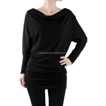 womens long sleeve basic tunic top soft fabric basic knit tunic dolman long sleeve