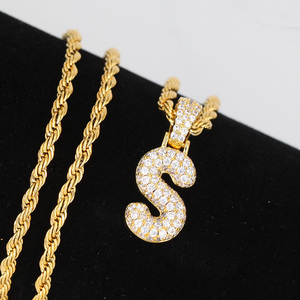 Miss Jewelry Custom 14k gold letter s pendant with zirconia