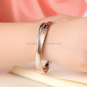 Stainless Steel Bangle Jewelry Two Color Tone Eternal Love Bracelet