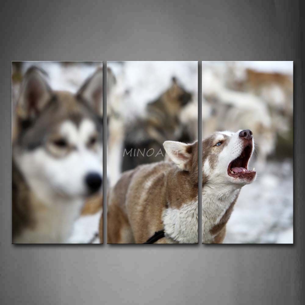 3 Piece Wall Art Painting Dogs Winter Howl Print On Canvas The Picture Animal 4 Pictures Oil For Home Decoration Prints Decor