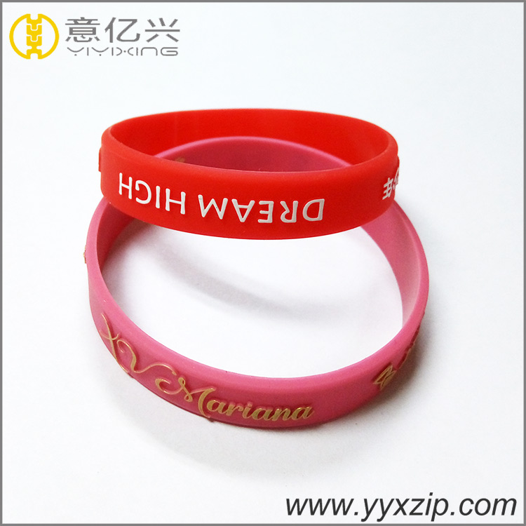 Wholesale custom embossed and printed personalized rubber festival charm sport silicone bracelets