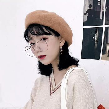 Factory Wholesale Custom Design French Plain Pink Red Wool Beret For Woman