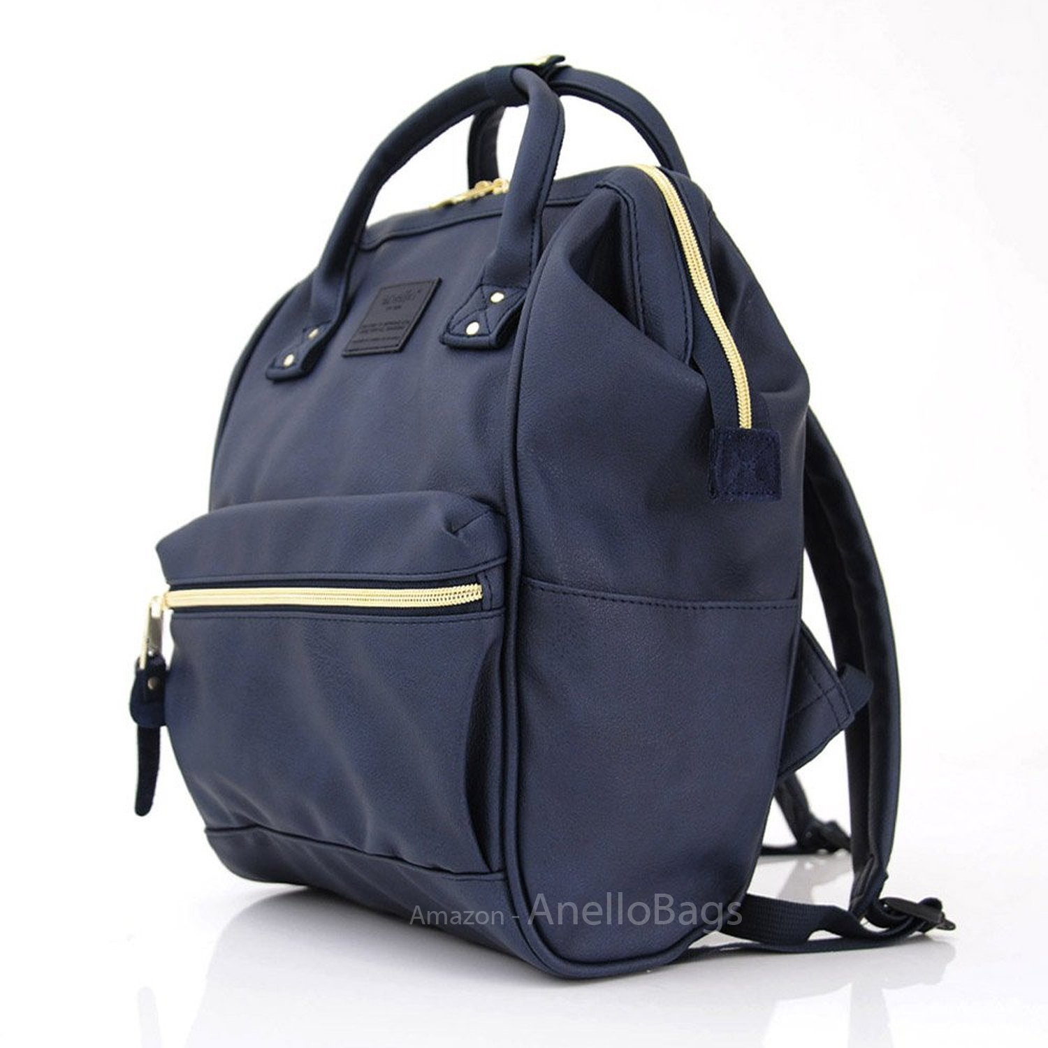 f8a4904538b5 Get Quotations · Japan Anello Backpack Unisex NAVY MINI SMALL PU LEATHER  Rucksack School Bag Campus