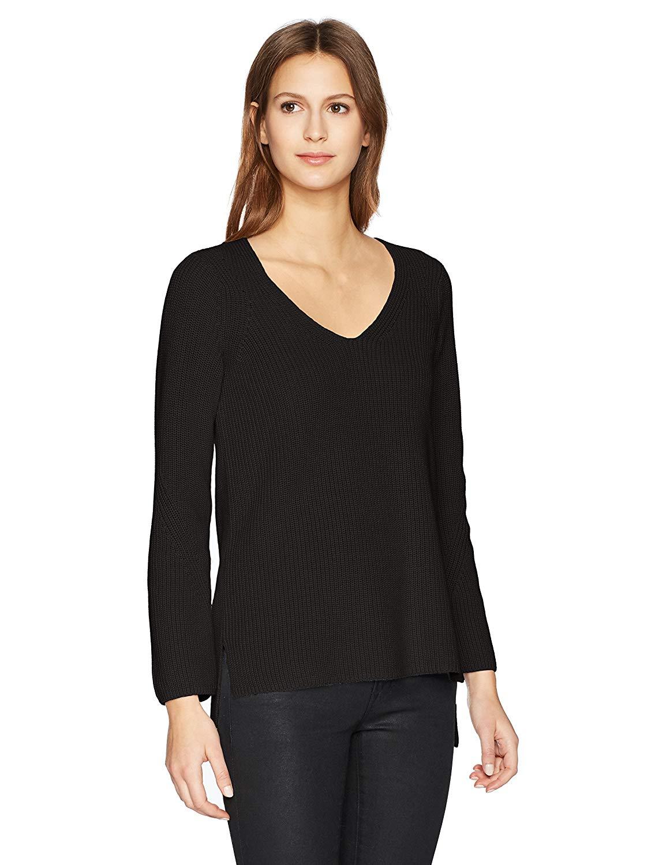 525 America Women's Shaker Vneck 100% Cotton Sweater