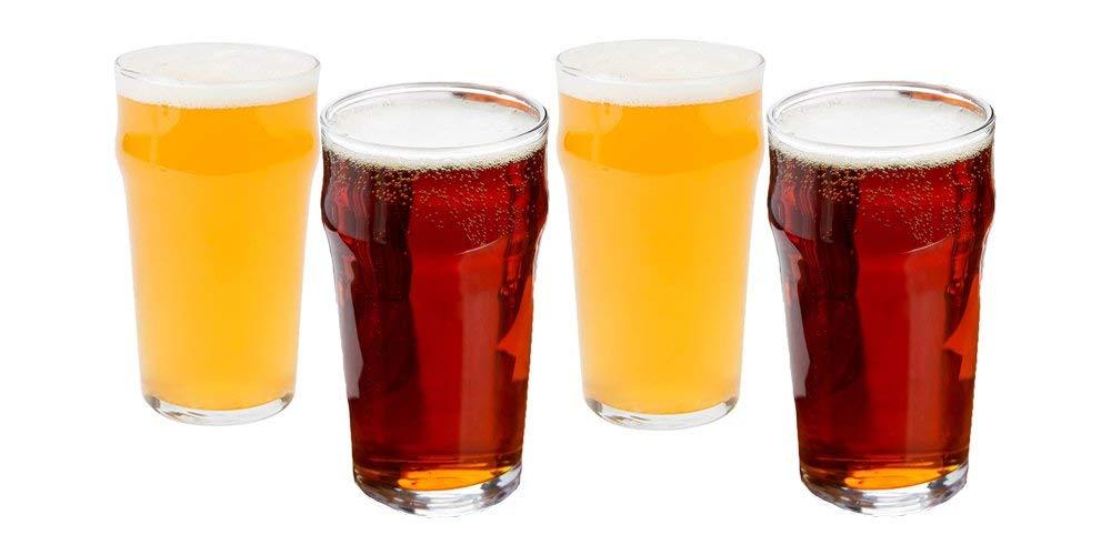 3ce0ddd4a0a Get Quotations · Beer Glasses Set of 4 British Pint - Pub Beer Glasses 20  oz. - Big