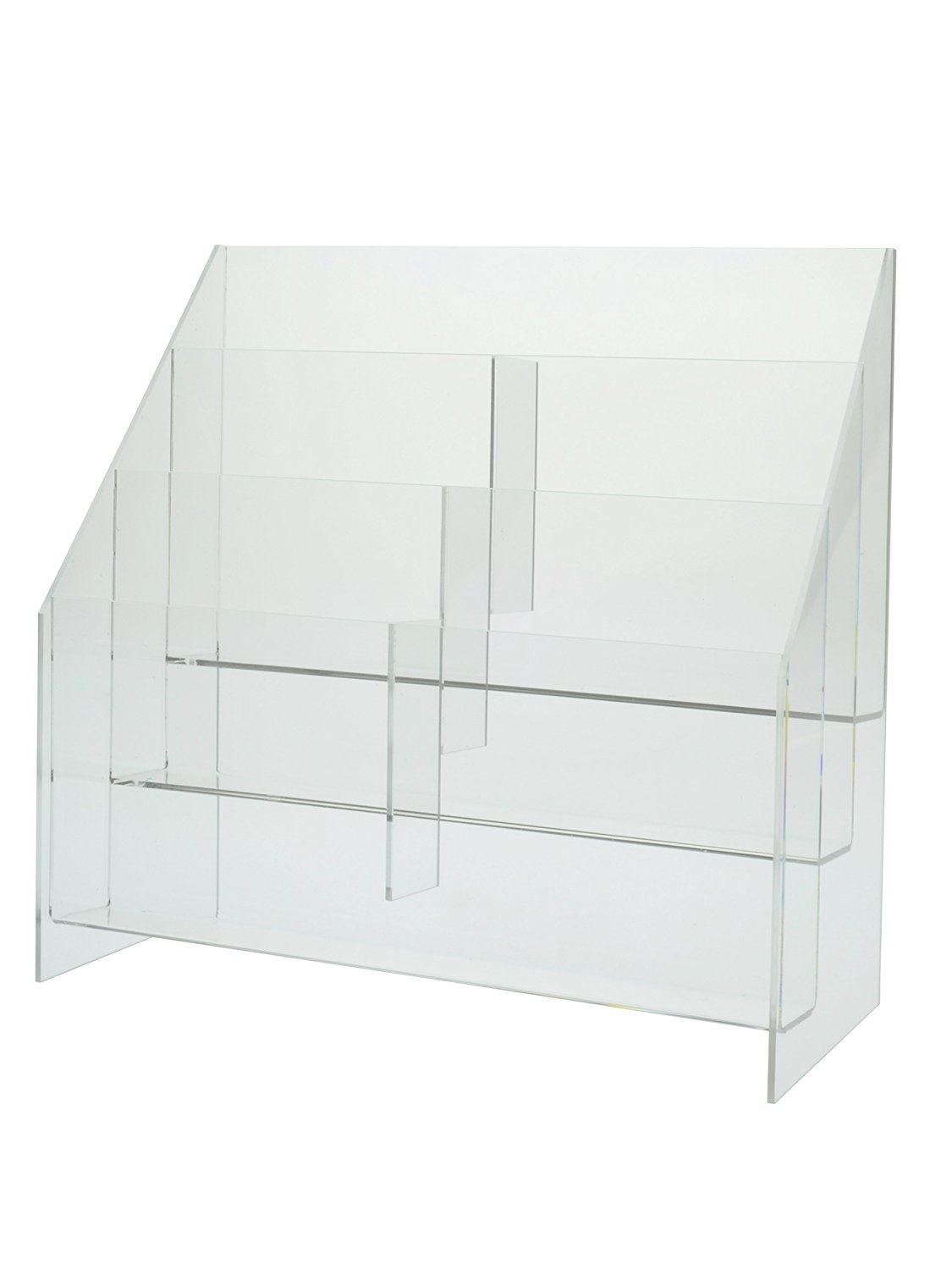 Marketing Holders Brochure Holder -Clear Acrylic, Three Tier, Six Pocket, Upright, Free Standing Design Holds 5.5 X 11 Literature - Sold in Lots of 4