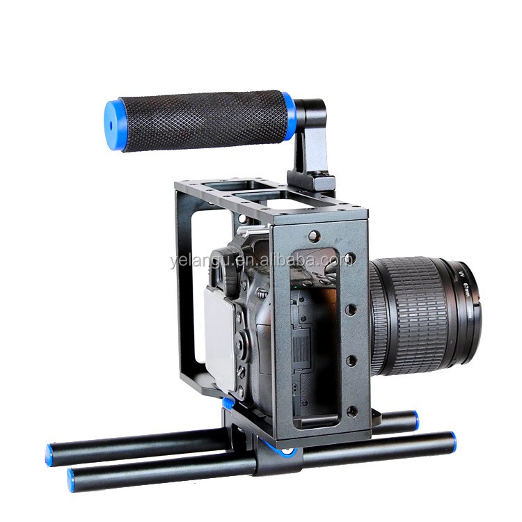 YEALNGU C1 DSLR BlackAluminum DSLR Camera Cage Kit With 15mm Rod Rig For Nikon Pentax Canon 5D Mark II 7D 60D