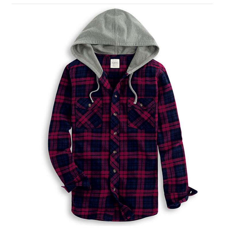 2015-New-casual-plaid-shirts-flannel-hooded-men-plaid ...