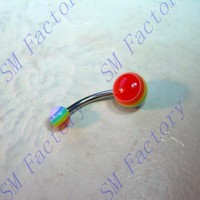belly navel ring 14g 316l gay ride rainbow flag acrylic balls body piercing jewelry --SMABR56052