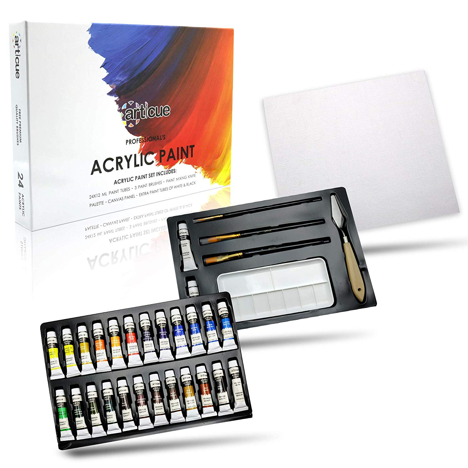 Acrylic Paint Set by Articue - 24x12ml Tubes with FREE 3 Brushes,2 EXTRA Paints,a Palette,Art Knife & Canvas Panel.Rich Pigment.Complete Starter Canvas Painting Kit For Kids,Beginners,Adults & Artists