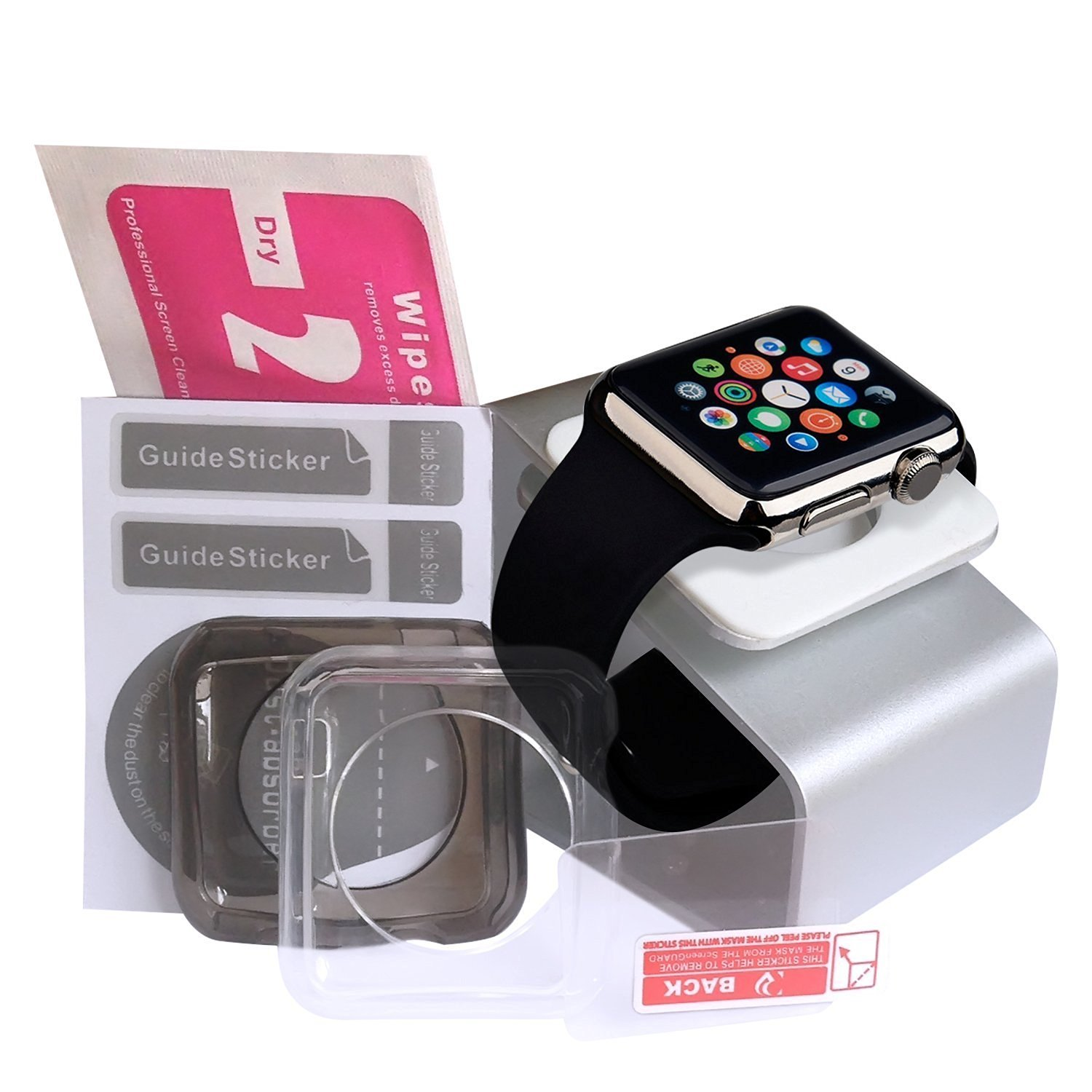 ULTIMATE Apple Watch Accessories Bundle: Apple Watch Stand [Docking Station / Cradle Holder] | Apple Watch Case X2 | FREE Additional Apple Watch Screen Protector. Great Apple Watch Bundle (38mm)