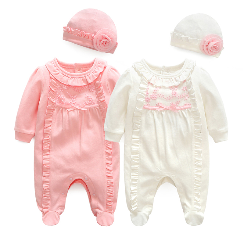 Alibaba.com / Amazon supplied spring&autumn long sleeve cotton fabric infant toddler baby girl clothes romper
