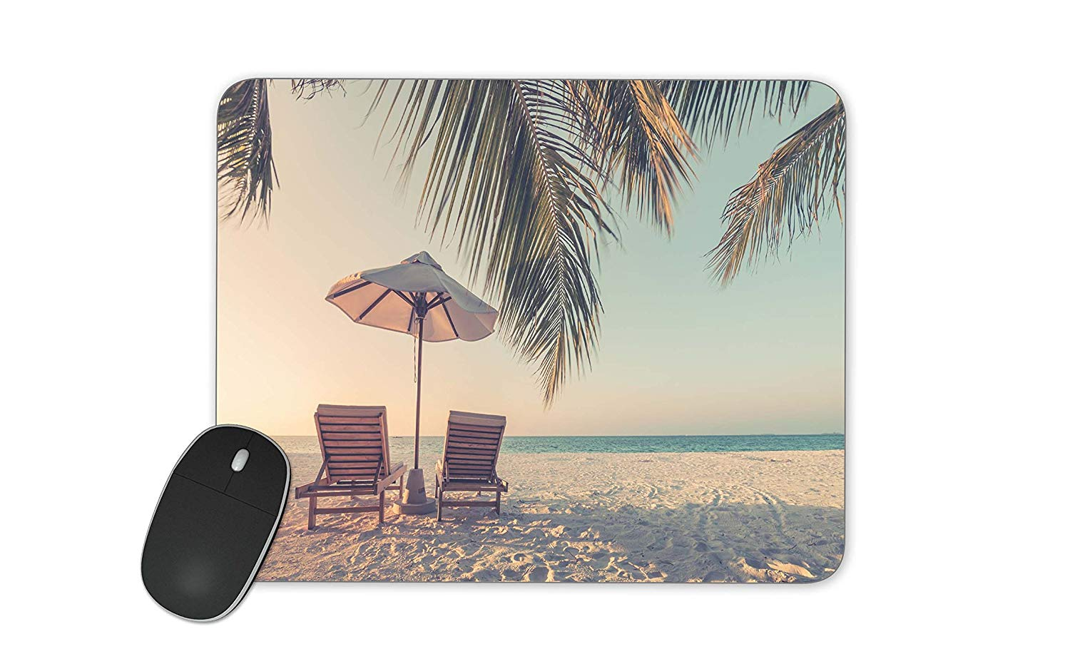 Wen Ty Chairs on the sandy beach near the sea Mouse pad Gaming Mouse pad Mousepad Nonslip Rubber Backing