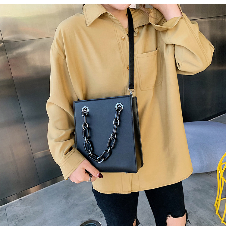 RKY0603 Simple single shoulder big female 2019 new fashion lady Korean version chain cross-body large capacity texture tote bag-3