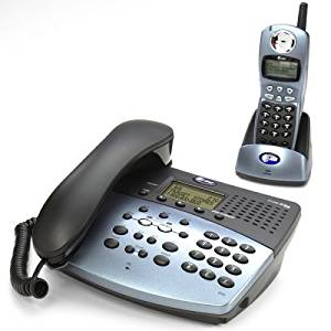 AT&T 2462 2.4 GHz DSS 2-Line Cordless Phone with Answering System, Speakerphone, and Corded Base (Metallic Black)
