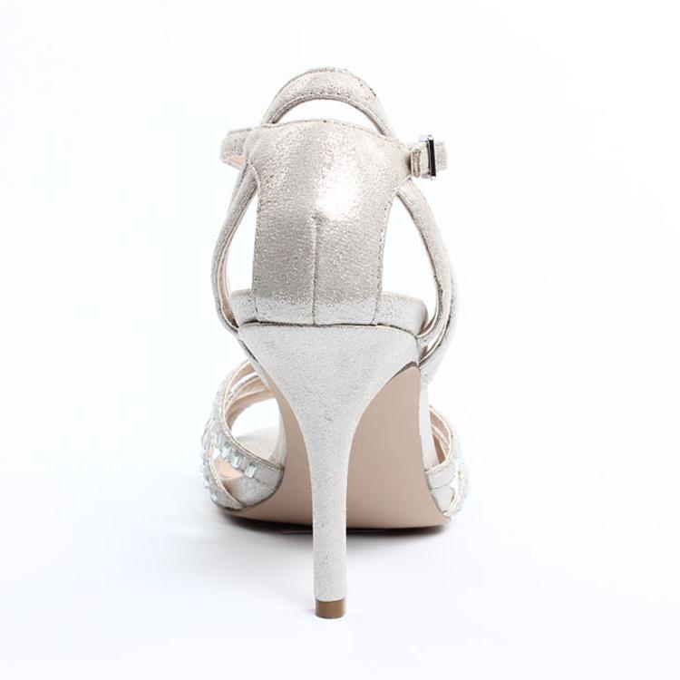 2015 Damenmode Elegante Silbernes Kleid Sandalen Silber Hochzeit ...