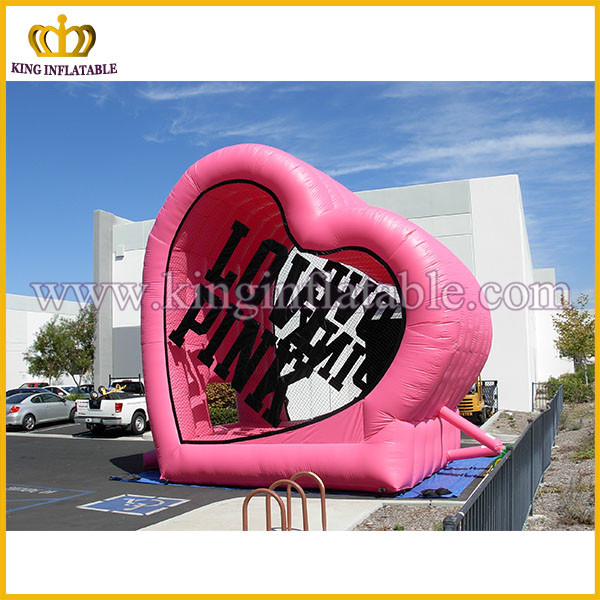 Pink heart inflatable model for outdoor display, inflatable heart replica