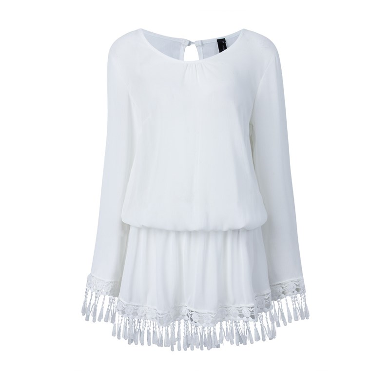 Trendy tops elegant decent special chffion tassels loose long sleeves girl wear