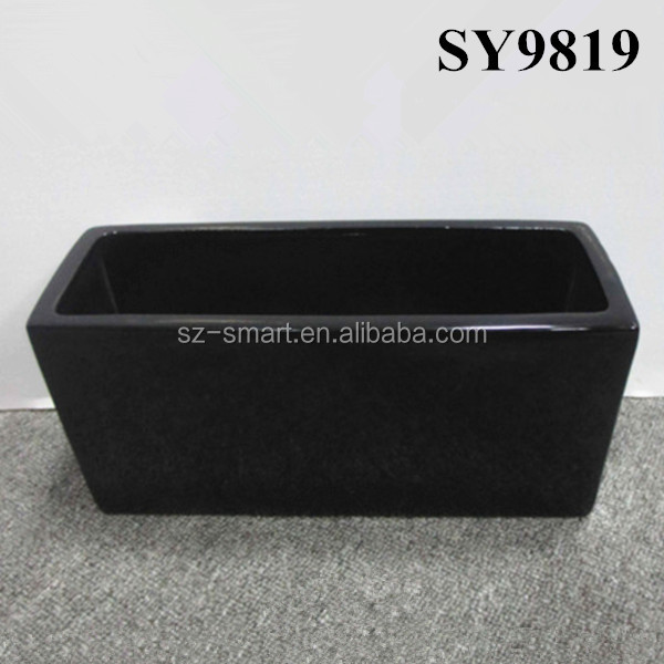 Black indoor decoration ceramic rectangular planters