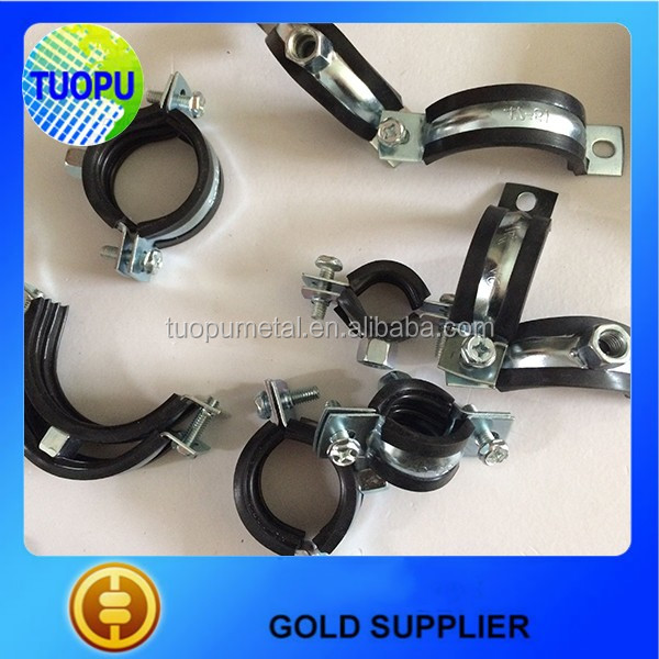 China Cushion Pipe Clamp With Rubber,M8/M10 heavy duty steel pipe clamp with plastic for sale