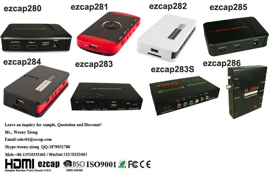 ezcap284 1080P HD HDMI Video Capture, Game Recorder with remote control support video streaming