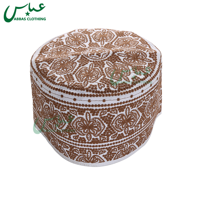 ABBAS Brand OEM High Quality Embroidered Oman Caps Wholesale Muslim Caps C035