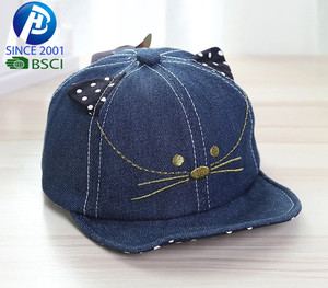 Hot sale custom logo cotton baseball cap kids denim with ears cute Baseball Cap and hats
