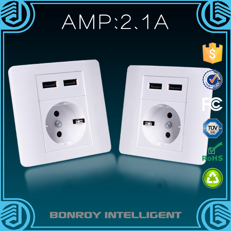 Non-Grounding Grounding and Wall Socket Type Europe switch multi plug wall sockets with double USB