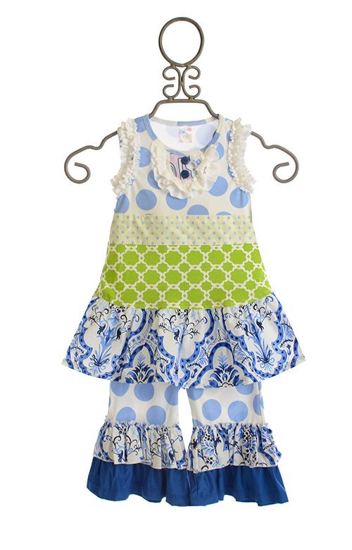 Toddlers Vintage Boutique Sleeveless Kids Tunic & Matching Ruffled Pants Outfits Baby Girls Summer Wear Clothing Suit