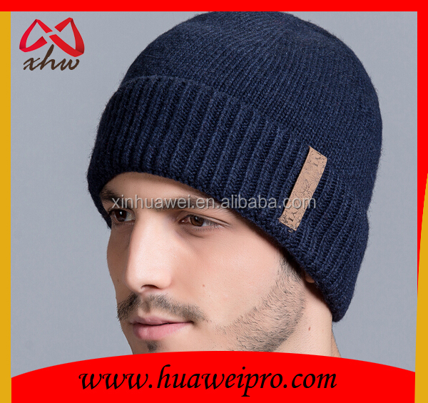 Cheap custom winter hats and caps men fashion plain slouchy wool beanie