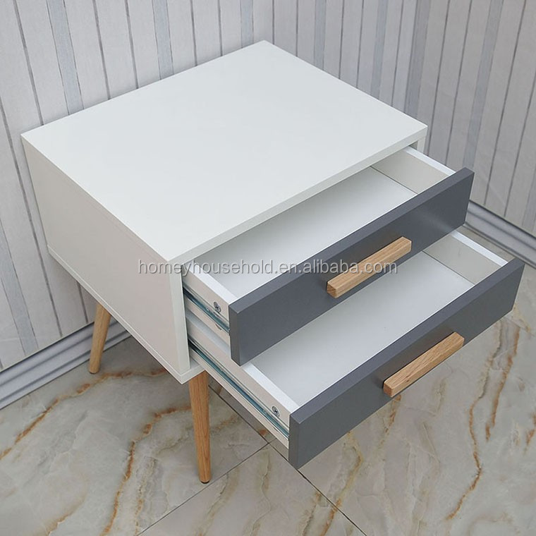 Vintage Scandinavian 2 Drawers Wooden Bedside Table/Nightstand with Wooden Leg
