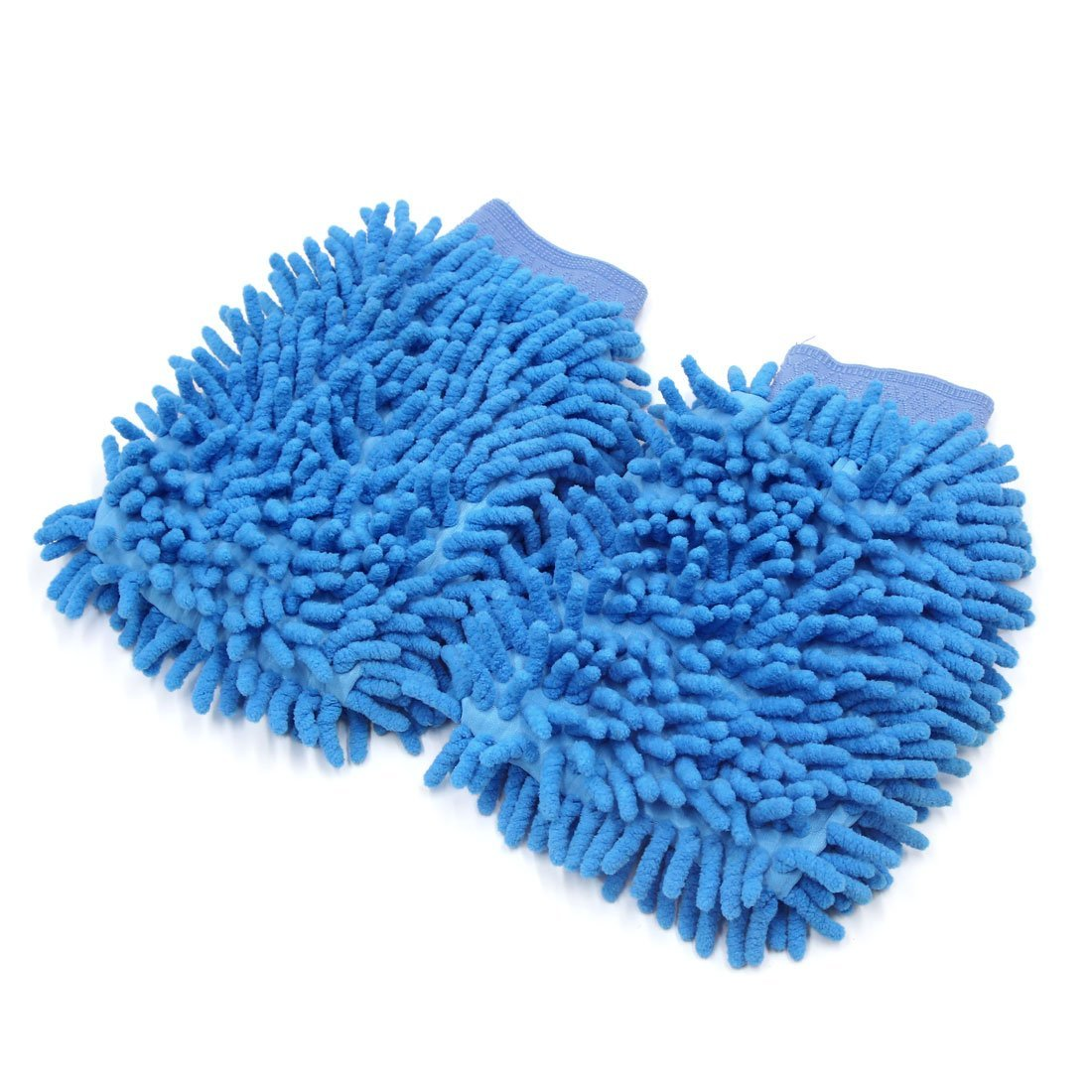 uxcell 2pcs Universal Blue Chenille Washing Cleaning Gloves Mitten for Home Car Vehicle