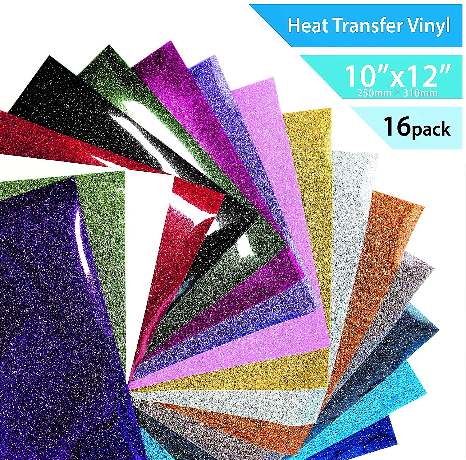 """T-Vinyl Glitter Heat Transfer Vinyl Sheets Set for DIY T-Shirts : 12""""×10""""- 16 Pack of 16 Assorted Brilliant Colors – Best Iron On T-Vinyl Bundle for Cricut, Silhouette Cameo and Other Vinyl Cutters"""