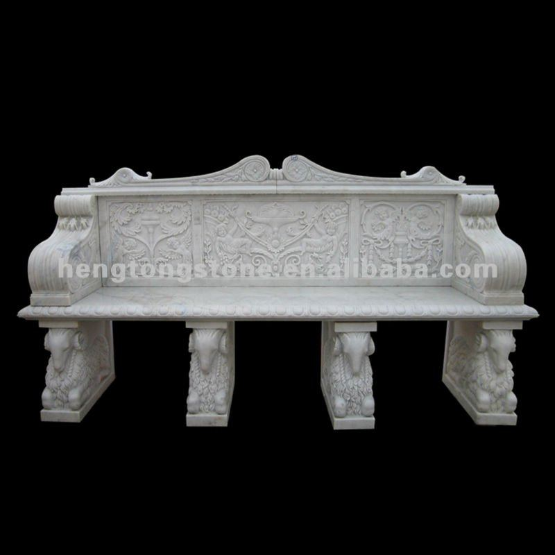 Stone Garden Bench with Figure and Animal Design