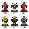 6pcs lot Super Heroes red Deadpool white Deadpool Minifig Wilson Mutants Marvel Building Blocks Toys Compatible
