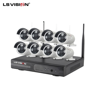 LS VISION Plug and Play Cctv Wireless Remote 1080P Wifi Security IP Camera Linux Outdoor H.265 8 CH Wifi Nvr Kit