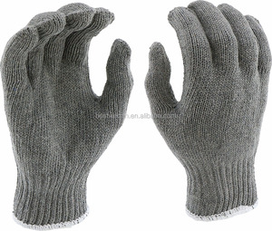Economy Weight Gray Poly Cotton string knit gloves for General Work Glove
