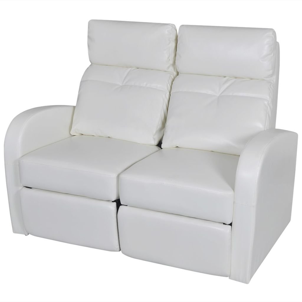 """2-seat Recliner Chair White Artificial Leather Reclining Chair Recliner Home Cinema Reclining Sofa Dimensions (when footrest extended and backrest lowered): 50.4"""" x 60.2"""" x 32.7"""" (W x D x H)"""