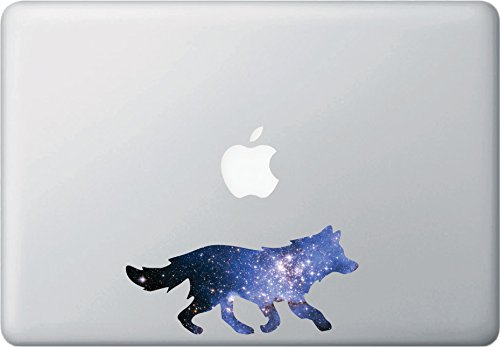 """Cosmic Wolf - Contour Cut and Printed Laptop / Macbook Vinyl Decal © YYDC. (6""""w x 2.75""""h)"""