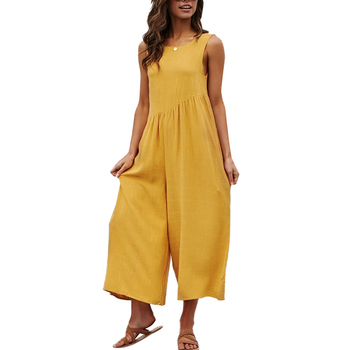 Lover-Beauty New Arriving Summer Yellow Loose Sleeveless One Piece Women Casual Jumpsuit
