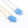 Wholesale Fashion Silver Jewelry ,925 Sterling Silver Hamsa Blue Fire Opal Necklace