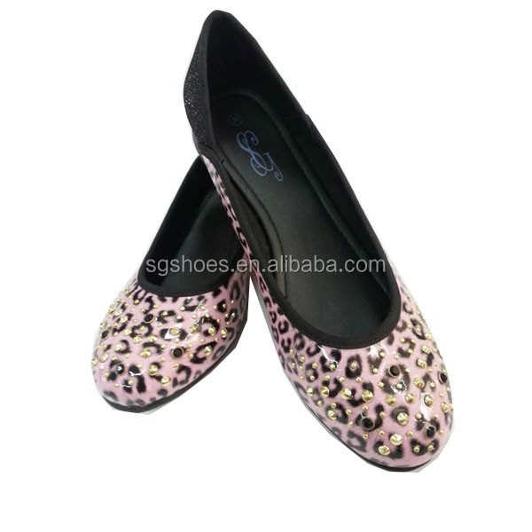 Ballerina pink leopard beautiful ladies flat shoes