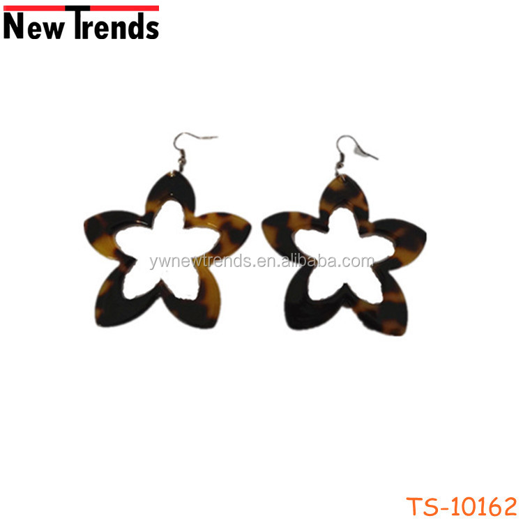 Top design tortoise acetate shell star earring jewelry