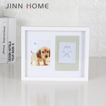 Dog Paw Print Pet Keepsake Footprint Kit Photo Frame With Clay Pet