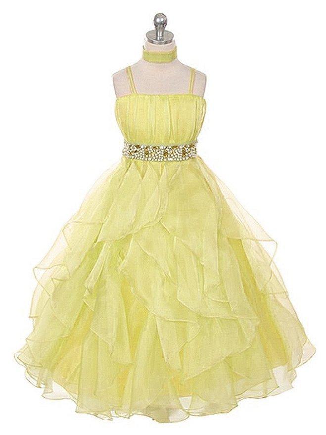 e4d0276068c Get Quotations · INM-168 Newest Elegant Beaded Spaghetti Strap Ruffles Long Flower  Girl Dress For Wedding 2015
