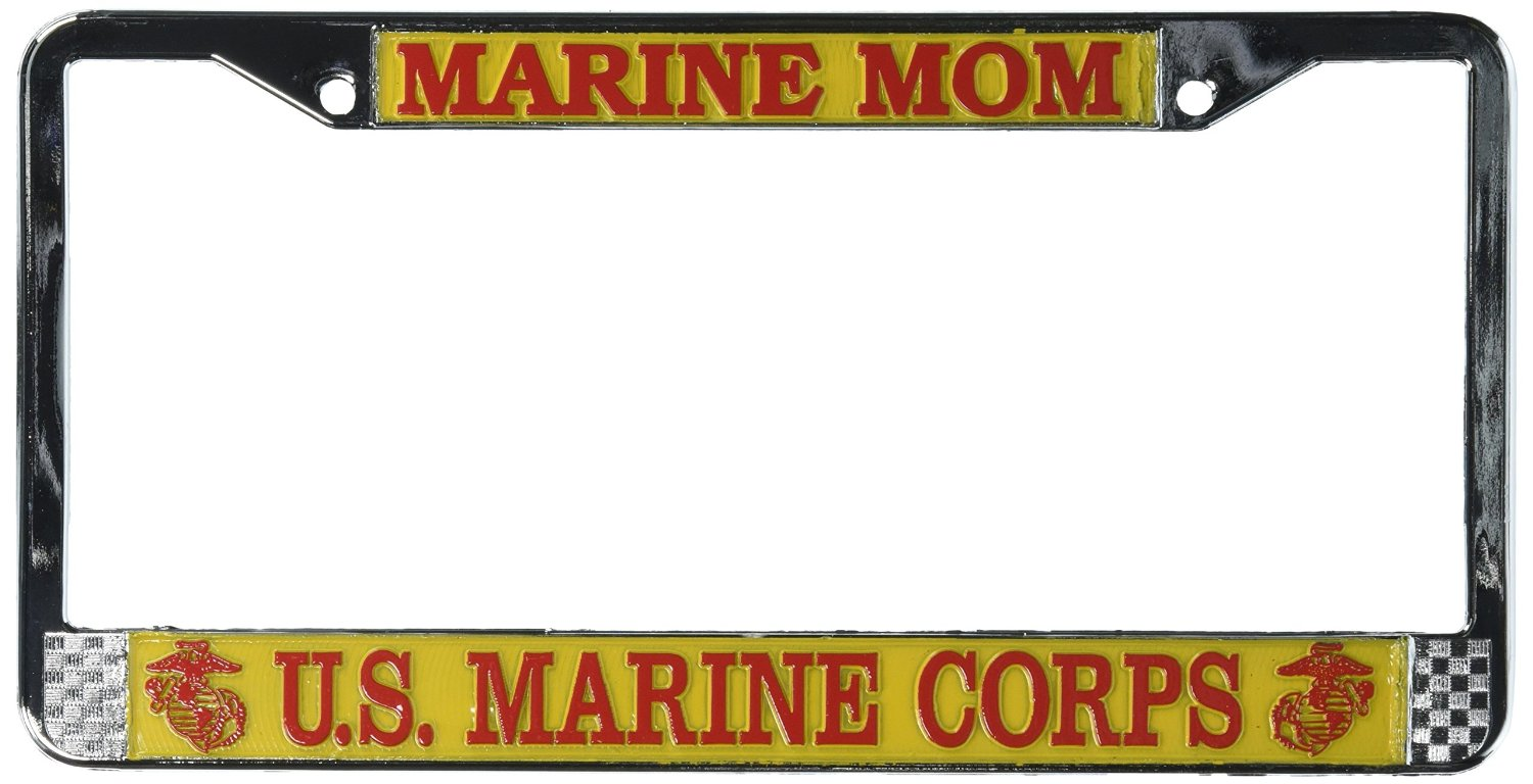 Buy Marine Mom US Marine Corps License Plate Frame (Chrome Metal) in ...