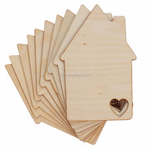 Laser Cut Love House Shape Wooden Blank DIY Crafts