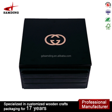 Luxury custom logo wooden cosmetic box case for packaging box