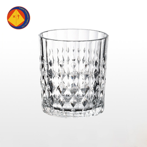 China supplier customized embossed drinking glass whisky glass cup