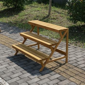 Outdoor Garden Line 3 Tier Wood Plant Stand